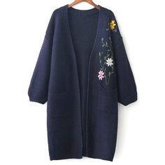 Floral Embroidered Pockets Vintage Cardigan (8.564 KWD) ❤ liked on Polyvore featuring tops and cardigans