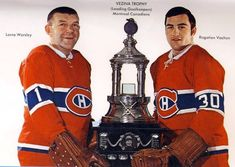 Gump Worsley and Rogie Vachon Hockey Goalie, Hockey Games, Hockey Players, Ice Hockey, Montreal Canadiens, Nhl, James Bond Movie Posters, Hockey Pictures, Goalie Mask
