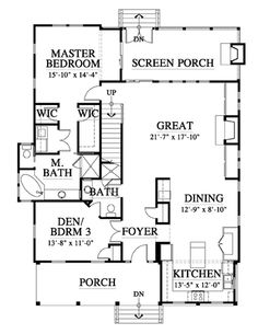 Allison Ramsey Architects | Floorplan for Bennett's Point Cottage (variation) - 2001 square foot house plan # 073195