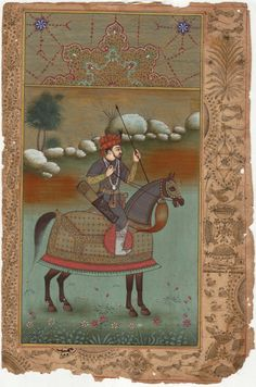 mughal miniature painting | Mughal Miniature Painting Handmade Timur Equestrian Rare Book Leaf ...