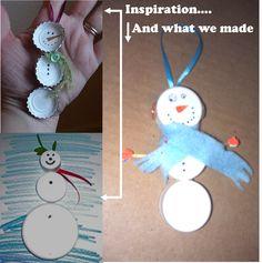 Snowman ornaments from bottle caps.