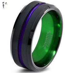 Tungsten Wedding Band Ring 4mm 6mm 8mm 10mm for Men Women Purple Green Black Beveled Edge Brushed Polished FREE Custom Laser Engraving Lifetime Guarantee - Wedding and engagement rings (*Amazon Partner-Link)