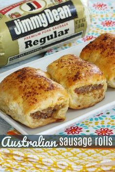 Australian Sausage Rolls: Australian Sausage Rolls are a seasoned sausage wrapped in a flaky, buttery pastry. They are delicious for breakfast, lunch, or dinner, or as an appetizer. Sausage Rolls Puff Pastry, Puff Pastry Recipes, Puff Pastries, Sausage Cresent Rolls, Aussie Food, Australian Food, Australian Recipes, English Recipes, British Recipes