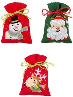 Set of 3 Christmas cross stitch Bags