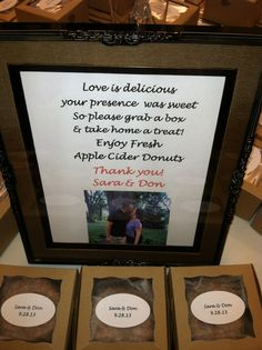 We love this Fall Wedding Favor...delicious apple cider donuts!