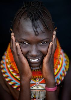 The Turkana are a Nilotic people (ethnic groups from southern Sudan, Uganda, Kenya, and Northern Tanzania) of who inhabit the northwest Kenya known as the Turkana District. They're the third largest ethnic group in Kenya. Women's traditional hairstyle: braided Mohawk. Ornaments indicate their wealth and marital status.