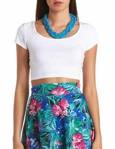Cotton Short Sleeve Crop Top: Charlotte Russe