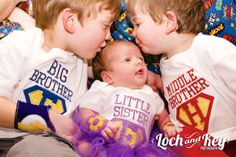 SuperHero Sibling Set Big, Middle, Little Brother or Sister (3 short-sleeve Shirts) - MADE TO ORDER