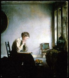 Edmund Charles Tarbell: A Girl Reading / Noia llegint, 1909. Oil on canvas.