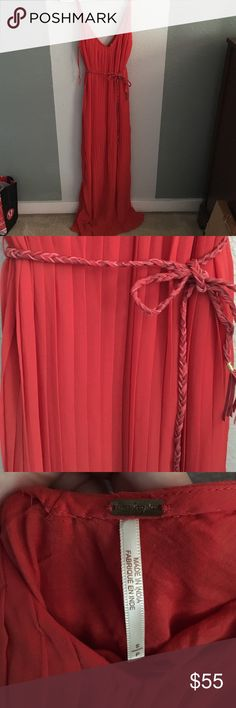 free people maxi dress pleated maxi dress with rope style belt to since at the high waist. very versatile dress - wear it to a nice event or casually. NEVER WORN without tags. Free People Dresses Maxi