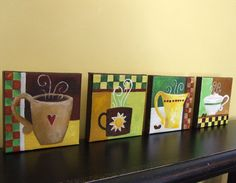 """Original Painting, FOR the LOVE of COFFEE, Four 5""""x5"""" acrylic on canvas, Home Decor, Coffee Art, Set of 4. $100.00, via Etsy."""