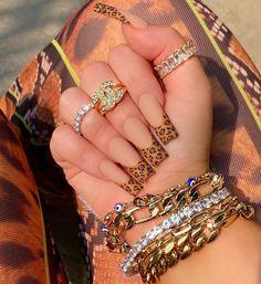 Cheetah Nails, Pink Acrylic Nails, Elegant Nails, Stylish Nails, Coffin Nails, Gel Nails, Nails Only, Nail Jewelry, French Tip Nails