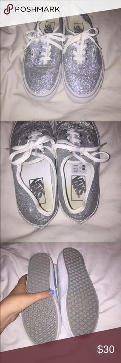 Sparkly silver vans Worn one time. Women's size 7. Vans Shoes Sneakers