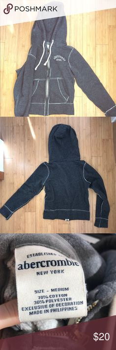 Abercrombie & Fitch Zip Up Hoodie Size Medium Abercrombie & Fitch Zip Up Hoodie  Size Medium Color Gray 70% Cotton 30% Polyester Runs small as all Abercrombie items are fitted Abercrombie & Fitch Sweaters