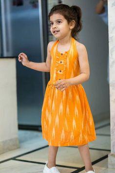 Orange Ikat Halter Dress is part of Kids designer dresses - Baby Frock Pattern, Frock Patterns, Kids Dress Patterns, Latest Dress Patterns, Baby Girl Frocks, Frocks For Girls, Dresses Kids Girl, Baby Dresses, Kids Outfits