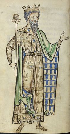 Westminster Psalter, England (Westminster or St Albans); circa 1250. Caption: Drawing of a king holding a sceptre, Latin. Source identifier: Royal 2 A. XXII, f.219v. British Library Shelfmark: Royal 2 A. XXII