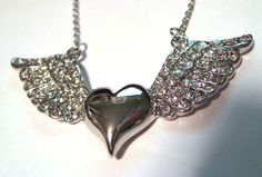 Heart with ANGEL Wings - Crystal Rhinestones Silver Pendant Necklace