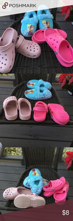 Crocs and slippers for girls Pale pink Crocs,hot pink open toe Crocks and Frozen slippers. Crocks Shoes Sandals & Flip Flops