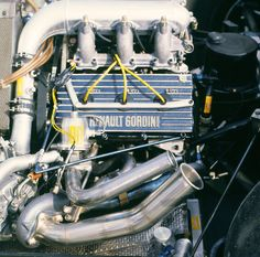 Renault Gordini EF1, 1,492 cc (91.0 cu in), 90° V6, turbo mid-engine, longitudinally mounted - the engine that powered the Renault RE40 in the 1983 season. This picture represents the engine of Ala...