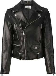 $4,874, Black Leather Biker Jacket: Saint Laurent Biker Jacket. Sold by farfetch.com. Click for more info: https://lookastic.com/women/shop_items/138852/redirect