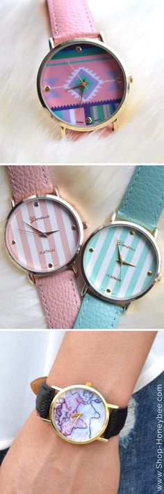 Colorful watches are a total MUST for summer! Shop summer's hottest accessories at Honeybee Boutique online! <3