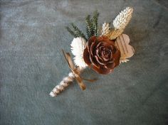 All Natural grooms boutonneir with birch bark by NHWoodscreations,