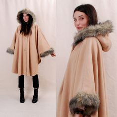 INSANE Poncho - vintage women's cape coat, hooded cape - Fleece w/ Faux Fur Trim, camel brown,