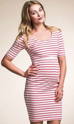 MATERNITY & NURSING SHORT SLEEVE STRIPED DRESS BY BOOB DESIGN  http://ellabella.ca/collections/new-arrivals/products/dress-simone-short-sleeve