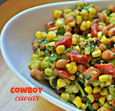 Cowboy Caviar - Shrinking Kitchen Looking for a fail proof cookout dish? Your search is over. This cowboy caviar will be your go to dish. And everyone will want the recipe. Appetizer Salads, Appetizer Recipes, Salad Recipes, Appetizers, Healthy Snacks, Healthy Eating, Healthy Recipes, Healthy Menu, Healthy Dishes