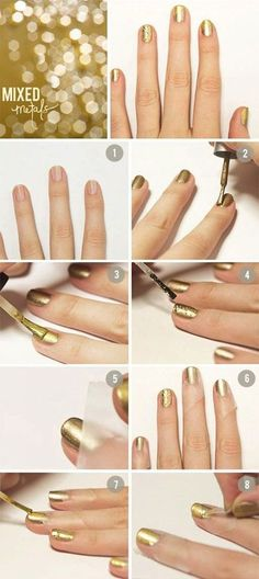 Are you searching for new nail designs for short nails? Have a look at these 60 latest simple, but very cute nail art tutorials for your short nails. Diy Nails, Cute Nails, Pretty Nails, Fancy Nails, Metallic Nails, Gold Nails, Glitter Nails, Gold Glitter, Jewel Nails