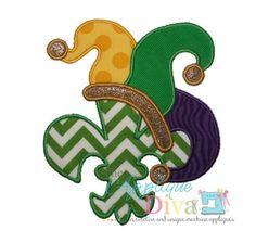 Mardi Gras Jester Hat Fleur de lis Embroidery by theappliquediva