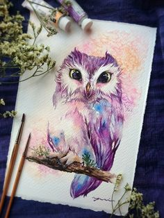 Tattoo watercolor bird drawings 60 New ideas Watercolor Owl Tattoos, Owl Watercolor, Watercolor Paintings, Bird Drawings, Animal Drawings, Owl Tattoo Drawings, Atrapasueños Tattoo, Owl Tattoo Design, Tattoo Designs