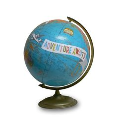 """I think I could make this...use globe from flea market, paint on it, """"Adventure Awaits"""", or """"Oh, The Places You'll Go"""" for a graduation gift??  Cool"""