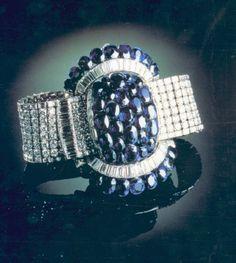 blue Sapphira & dia bracelet, a engagement gift, duchess of Windsor