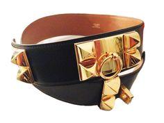 100% Authentic Hermes Collier De Chien Black 'CDC' Belt With Gold Hardware #Hermes