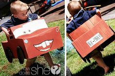 Cars Birthday Party- set up in Garage, each kid gets a car (box) then they can paint them. When dry, we have a race!