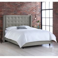 Nail Button Tufted Wingback Bed in Linen Grey