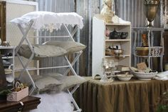This is from a store display but putting pillows on a drying rack would be cute in the bedroom esp. a guest room.