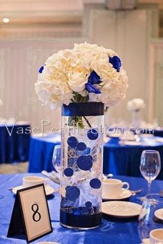 The royal blue Pearls are great for Hanukkah, blue themed weddings, holidays and graduations. The Pearls and Water Gels create a classic and elegant floating centerpiece that is sure to stun your guests. Royal Blue Wedding Decorations, Blue Wedding Centerpieces, Quince Decorations, Quinceanera Decorations, Elegant Centerpieces, Quinceanera Party, Centerpiece Flowers, Centerpiece Ideas, Quinceanera Dresses