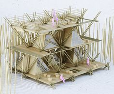 for their entry to the 'AIM: legend of tent' competition, architecture office penda has proposed a modular bamboo structure titled 'one with the birds. Bamboo Architecture, Chinese Architecture, Concept Architecture, Sustainable Architecture, Architecture Models, Architecture Company, Giant Bamboo, Town Country Haus, Bamboo Structure