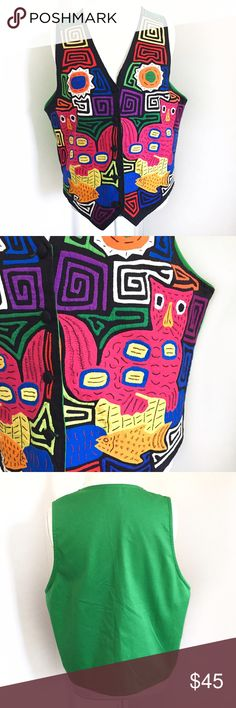 Vintage My Name is Panama green tropical mola vest Vintage handmade Panamanian mola vest branded My Name Is Panama. Black front with colorful cat and fish design. Solid green back. 5-button front. 100% cotton. In excellent condition, no flaws / holes / stains / smells. • Size large • 21 inches underarm to underarm • 24.5 inches from shoulder to lowest two points of the bottom • funky unique boho hippie costume • Vintage Jackets & Coats Vests