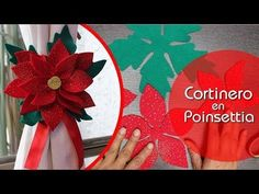 Cortinero en forma de poinsettia - YouTube Christmas Holidays, Merry Christmas, Christmas Decorations, Poinsettia, Curtain Holder, Giant Paper Flowers, Diy Paper, Diy Cards, 4th Of July Wreath