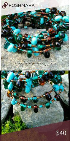 Multiple Layers Boho Bracelet Loaded with Glass Beads,  Multiple Layered Handmade Jewelry Bracelets