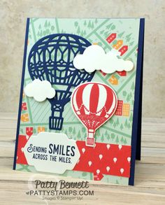 Patty Stamps - Patty Bennett, Independent Stampin' Up! Birthday Cards For Boys, Diy Birthday, Up Balloons, Air Balloon, Ballon Party, Hanukkah Cards, Boy Cards, Making Greeting Cards, Get Well Cards