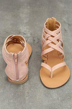 Straps Cross Slip-on Back Zipper Flat Sandals
