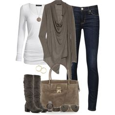 Simple, yet which fall fashion outfit. Gray or any color cover up over white long sleeved tee with jeans and neutral colored boots. The purse is great for autumn as well! Silver or gold accessories also work for this outfit. Fashion Mode, Look Fashion, Womens Fashion, Fashion 2016, Modern Fashion, Trendy Fashion, Runway Fashion, Fashion Art, Fashion Trends