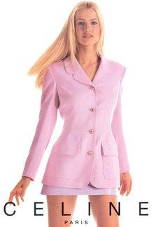 Timeless Fashion — Karen Mulder for Celine, Fashion History, 90s Fashion, Retro Fashion, Runway Fashion, Fashion Models, High Fashion, Vintage Fashion, Fashion Outfits, Womens Fashion