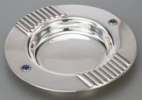 A Small Cartier Art Deco-Style Silver-Plated and Lapis Lazuli Tray, circa 1990 Marks: Cartier, 1990, MADE IN SP