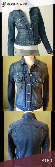 """VINCE Jacket, Size Small Touches of distressing add to the gently weathered look of a faded stretch-denim jacket with a lean, fitted shape and slightly shorter length. Front button closure.Front button-flap pockets.Approx. length from shoulder: 22 1/2"""".Buttoned cuffs.Cotton/elastane; machine wash.Imported. Shoulder 16"""" Arm Length 25"""". Underarm to underarm 16"""". Worn ONCE. Perfect condition. MSRP $320 Vince Jackets & Coats Jean Jackets"""