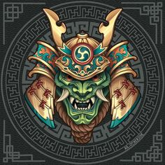 Samurai, Dark Fantasy Art, Graphic Design Illustration, Porsche Logo, Japanese Art, Tattoo Designs, Character Design, Behance, Photoshop